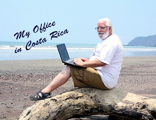 Bob Laptop on Beach My Office